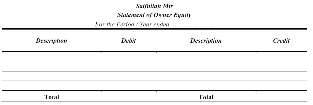 statement of owner equity format