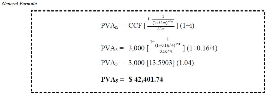 present value of annuity due example
