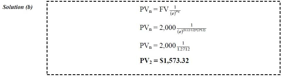 present value continuous compounding example