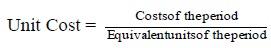 Unit cost formula