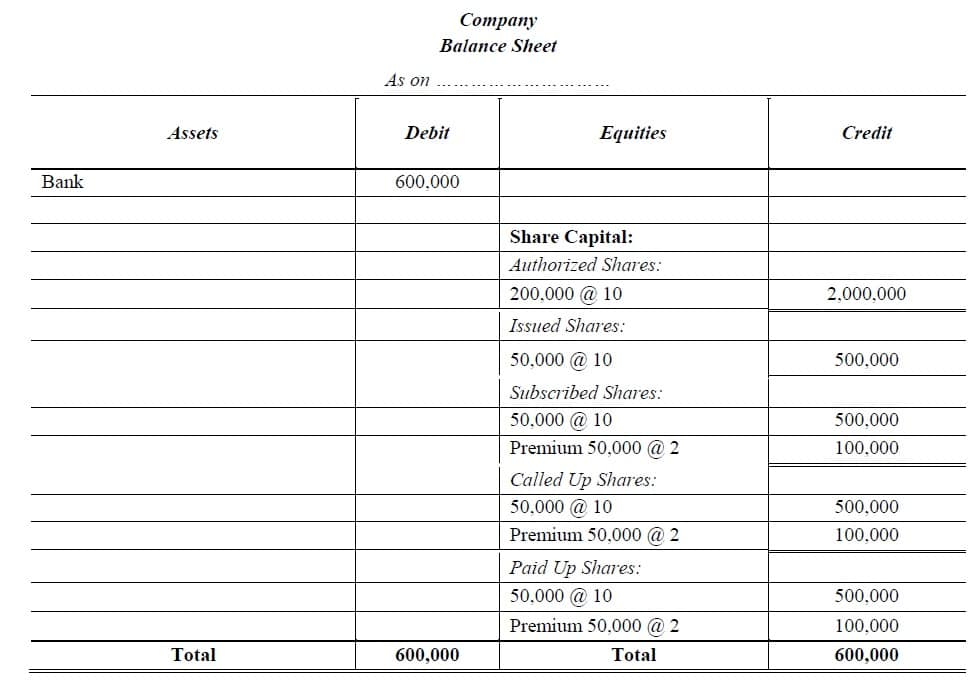 equity shares balance sheet