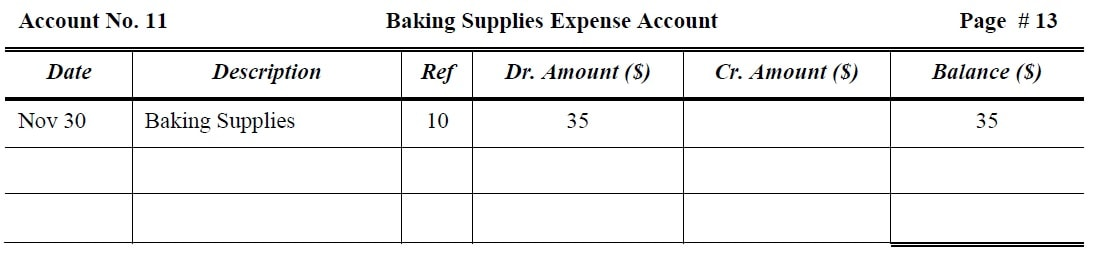 Baking Supplies Expense Account