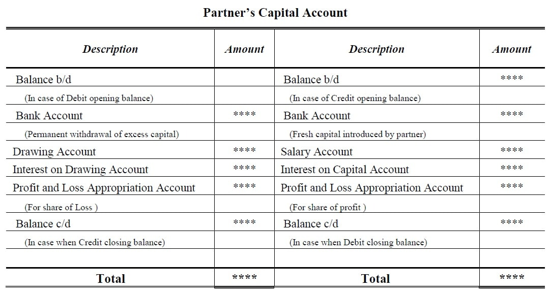 Fluctuating Capital Account Format